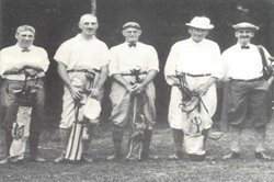 Circa 1920 ~ (l to r): Dr. W.J. Loftus, Charles Langley, unknown, Thomas A. Nicolson, Thomas K. McNamara,